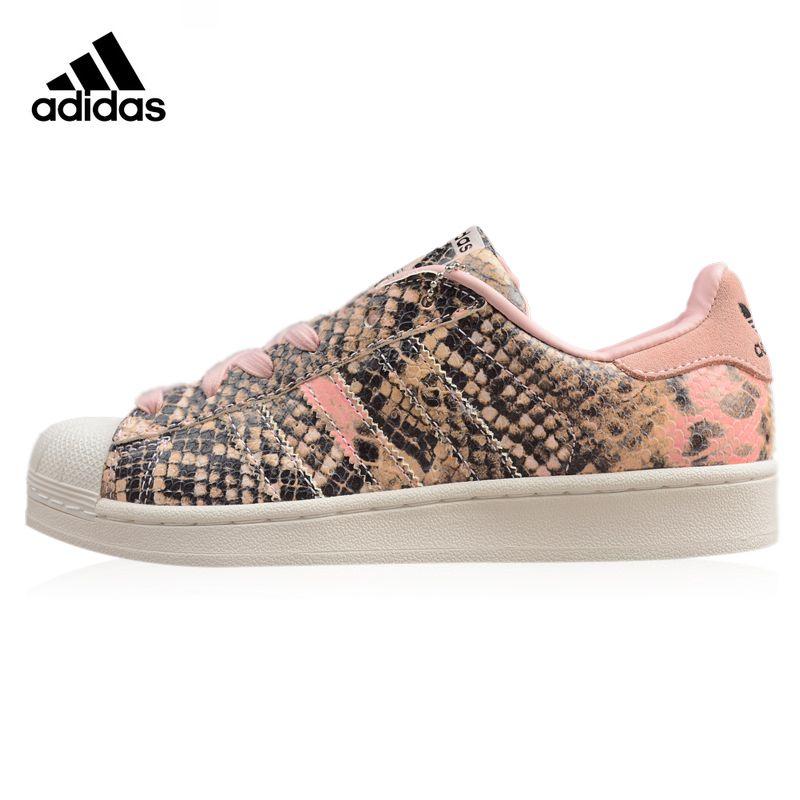 Adidas Superstar frauen Wanderschuhe Rosa & Braun Tragen-beständig Leichte Atmungsaktive Turnschuhe Nicht-slip S76419