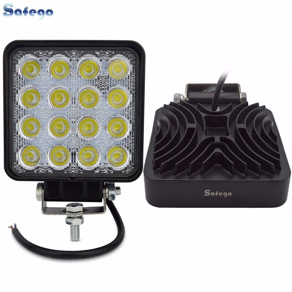 Safego 2X4 Inch 48 W LED lampe de travail indicateurs LED feux de travail conduite Offroad pour bateau tracteur camion 4x4 12 V spot crue