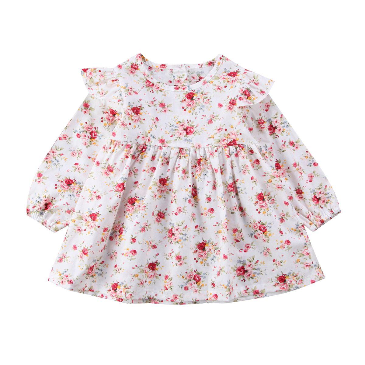 Infantil de los Bebés lindos Vestidos de Flores de Verano Volantes Manga de la Impresión Floral Traje Tutu Ropa de Vestir Para Niños Niñas