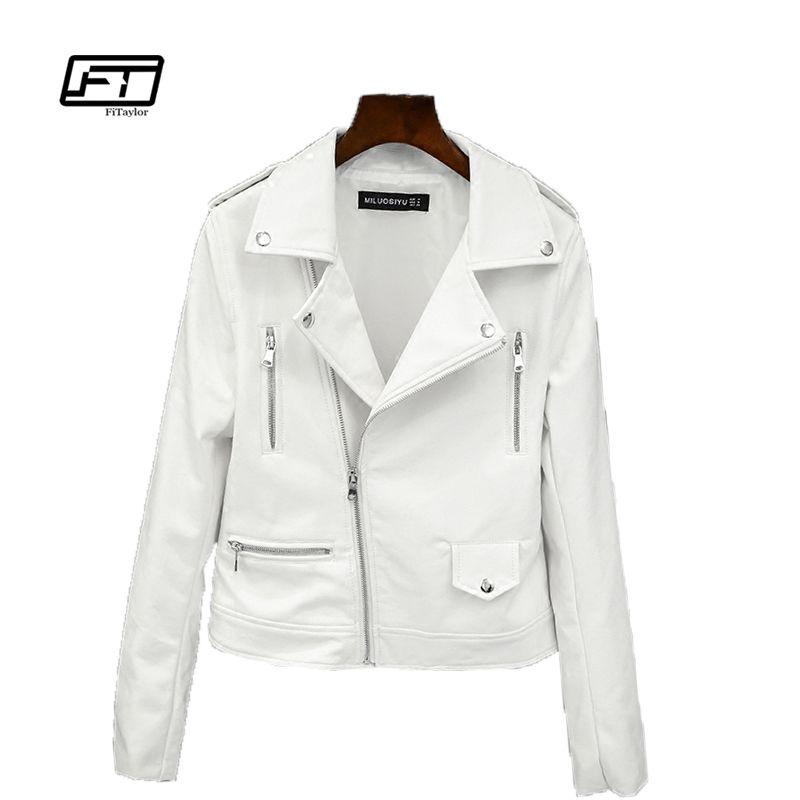 Fitaylor 2019 nouveau printemps automne femmes Biker en cuir veste souple PU veste rock décontracté moteur Faux cuir blanc veste