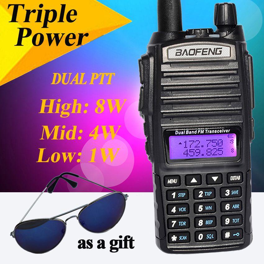 Baofeng 8 W UV-82HX Talkie-walkie radios Portatives de comunicacio Double PTT pour Baofeng UV-82 Plus Jambon Radio Portatif Amateur Radi
