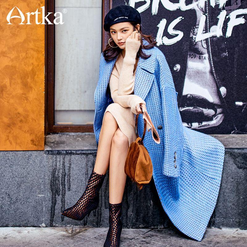 Artka 2018 New City Series Autumn&Winter 65% Wool Birds Plaid Blue Off-Shoulder Long Coat JW17039