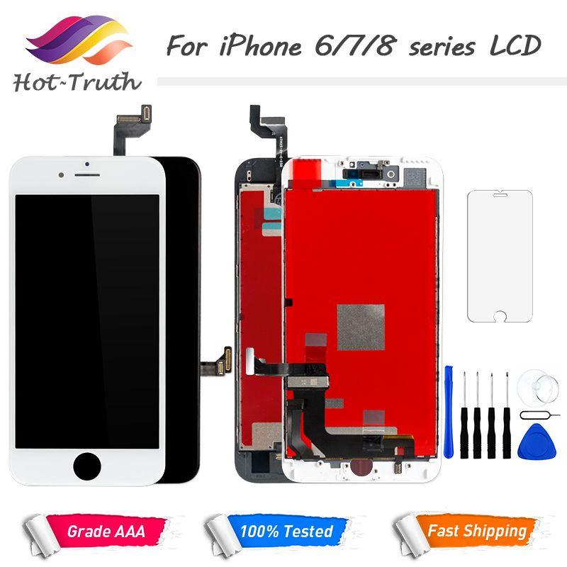 100% pas de Pixel mort LCD pour iPhone 6 6 s 7 8 7 Plus OEM affichage 3D tactile numériseur pré-assemblé blanc noir + outils verre trempé