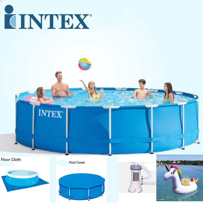 INTEX 305*76 cm Runde Rahmen Oberirdisch Pool Set Rohr Rack teich Familie Schwimmen Pool Filterpumpe Pool Abdeckung Für Sommer B32001