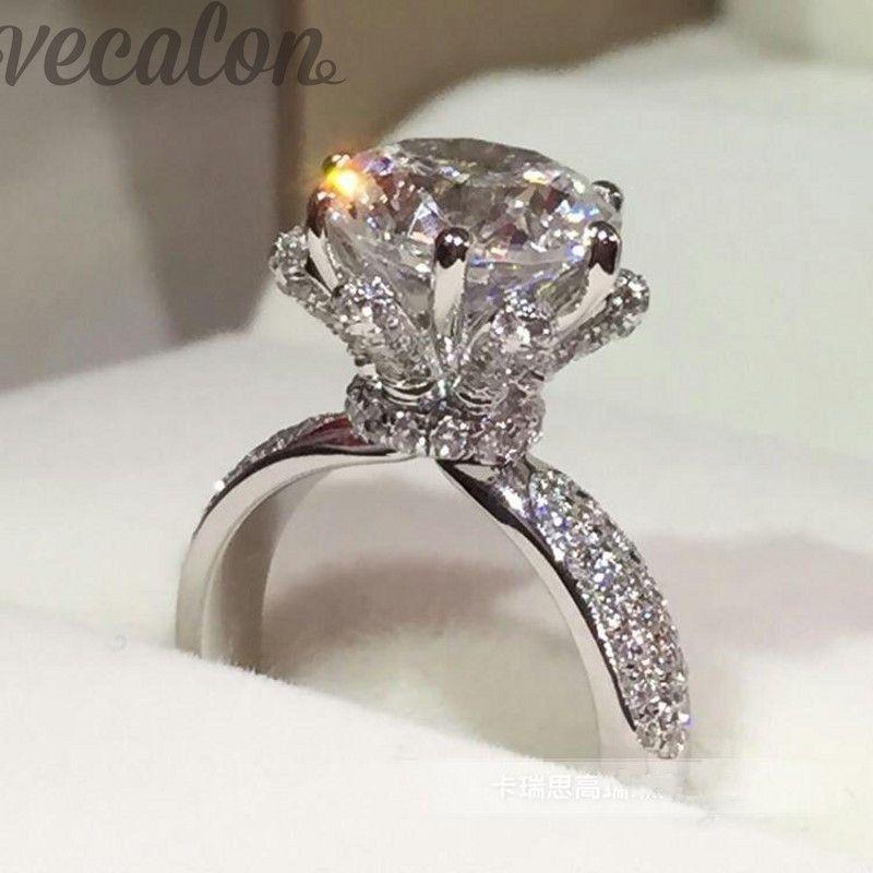 Promotion 94% OFF Vecalon Engagement Band anneau de mariage pour les femmes 3ct Cz Diamonique anneau 925 En Argent Sterling bague Femelle