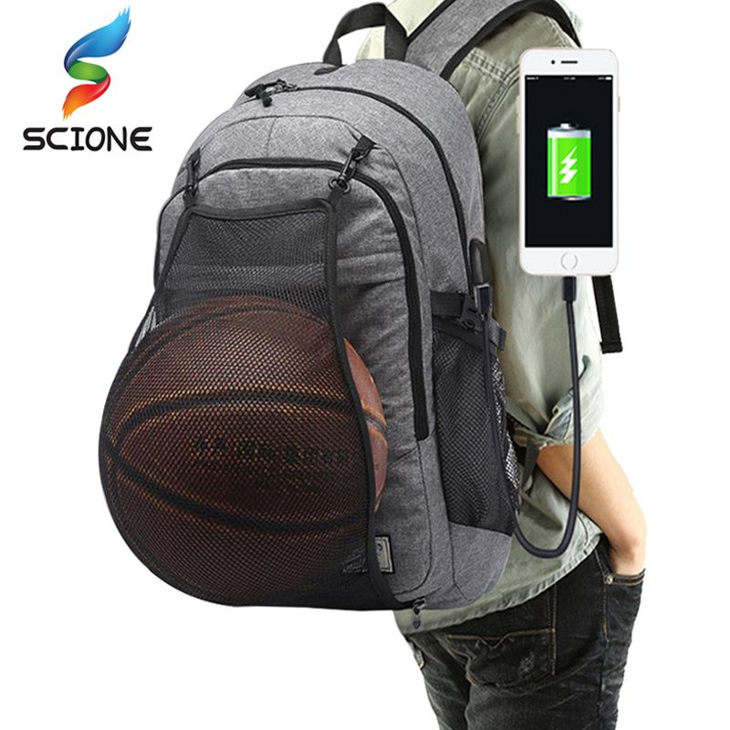 <font><b>Outdoor</b></font> Men's Sports Gym Bags Basketball Backpack School Bags For Teenager Boys Soccer Ball Pack Laptop Bag Football Net Gym Bag