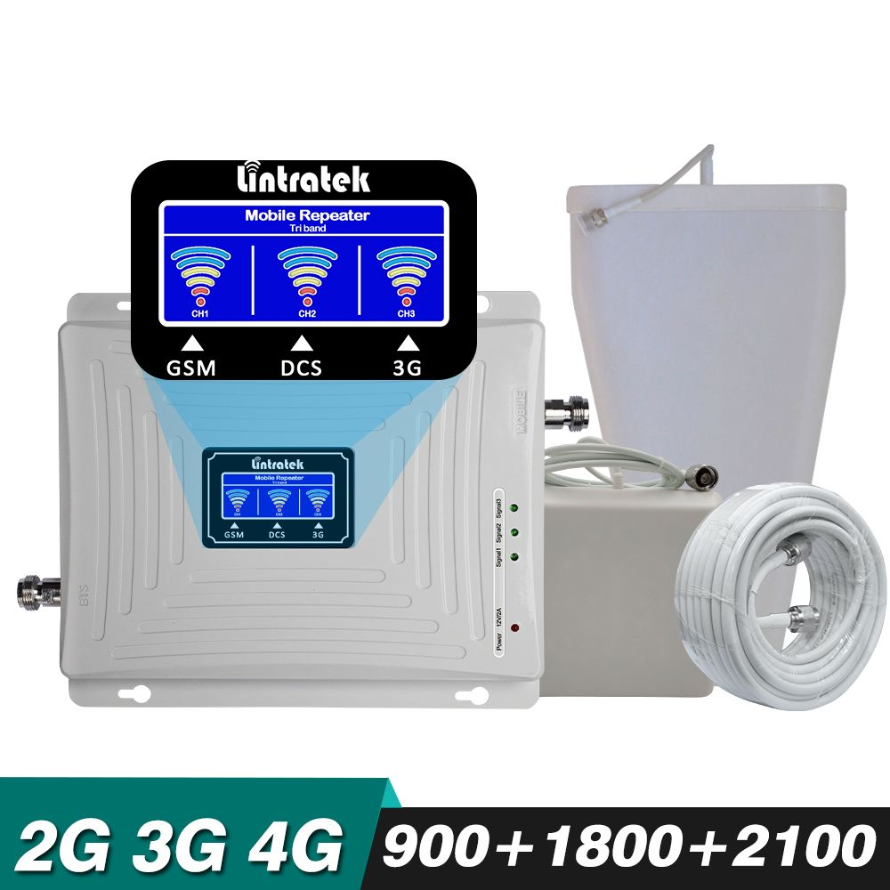Gain 65dB Tri Band Repeater GSM 900+DCS/LTE 1800+WCDMA UMTS 2100 MHz 2G 3G 4G Mobile Cellular Signal Booster Amplifier Full set