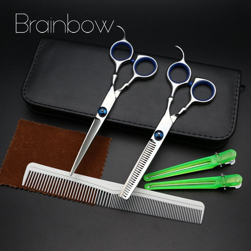 Brainbow 6.0in Professional Hairdressing Hair Scissors Set Cutting& <font><b>Thinning</b></font> Barber Shears Hair Salon with Comb+Hairpin+PU case
