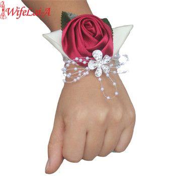 100% À La Main Vin rouge Cristal Bouquet Corsage Diamant Satin Rose Fleurs pour le Mariage Mariée Poignet Fleurs Boutonnière SW0677Y