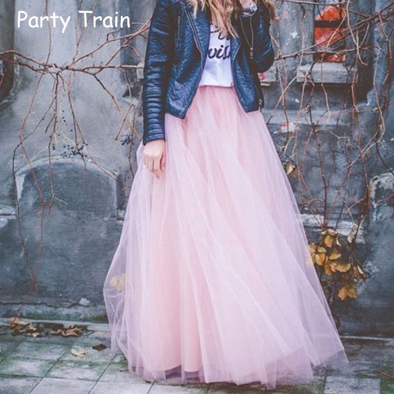 2018 Spring Fashion Womens Lace Princess <font><b>Fairy</b></font> Style 4 layers Voile Tulle Skirt Bouffant Puffy Fashion Skirt Long Tutu Skirts
