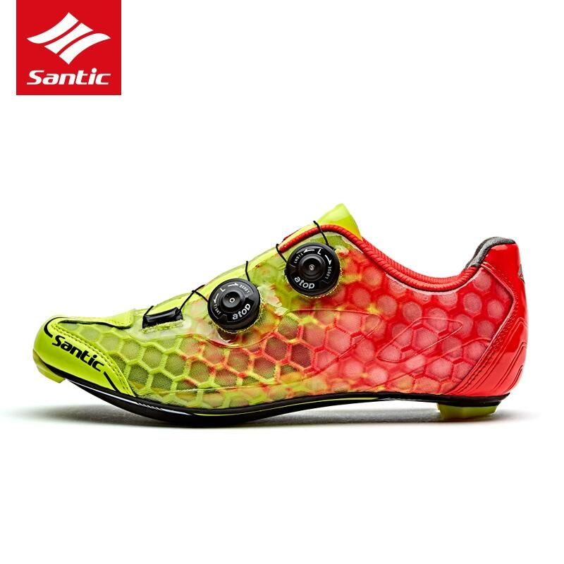 Santic Cycling Shoes Men Carbon Fiber Road Bike Shoes Breathable Self-Locking 2018 PRO Racing Team Athletic Bicycle Shoes