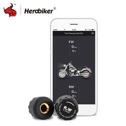 HEROBIKER Moto Bluetooth Système de Surveillance de Pression Des Pneus TPMS Mobile Téléphone APP Détection 2 Capteurs Externes