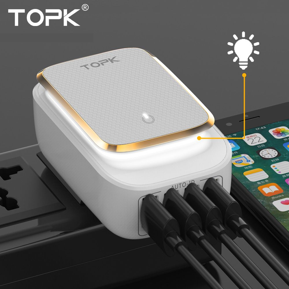 TOPK L-Power 4-Port 4.4A(Max) 22W EU USB Charger Adapter LED <font><b>Lamp</b></font> Auto-ID Portable Phone Travel Wall Charger for iPhone Samsung