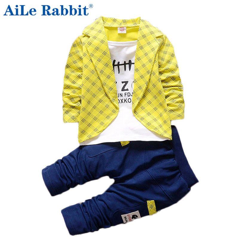 AiLe Lapin Enfant Bébé Garçon Formelle Vêtements Treillis À Manches Longues Casual Pantalon 2 pcs Enfants de Vêtements Bébé Ensemble k1