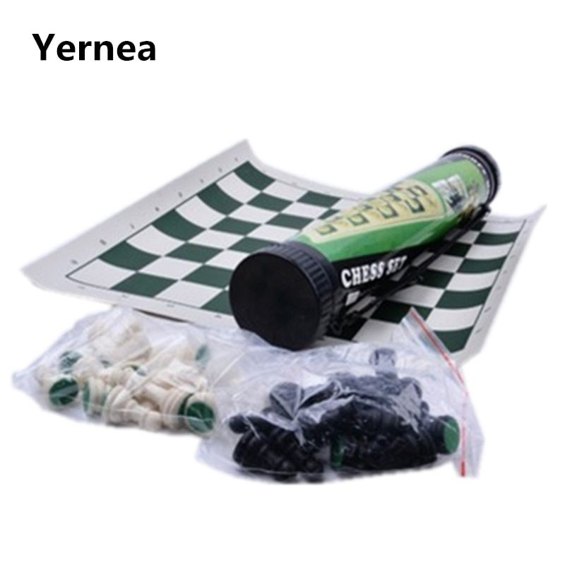 Outdoor Plastic Chess Portable Cylinder Chess Set Black and White Chess Folding Chess board Family Travel Essential Yernea