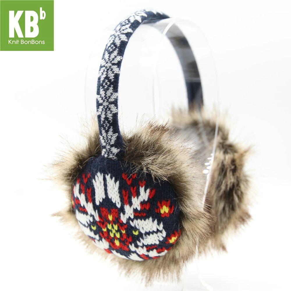 2017 KBB Spring SALE    Winter Faux Fur Navy Blue White with Snowflakes & Asterisk Fashion Design Knit Yarn Winter Earmuffs