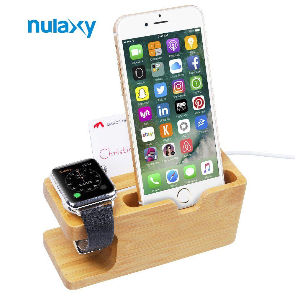 Nulaxy новейшие бамбука держатель для мобильного телефона Подставка для Apple Watch док Колыбели зарядная станция держатель Бизнес держатель для к...