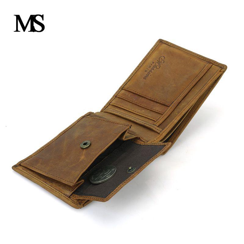 Echtes Leder Brieftasche Männer Organizer Geldbörsen Marke Vintage Echtem Leder Rindsleder Kurze männer Geldbörse Mit Münzfach TW1653