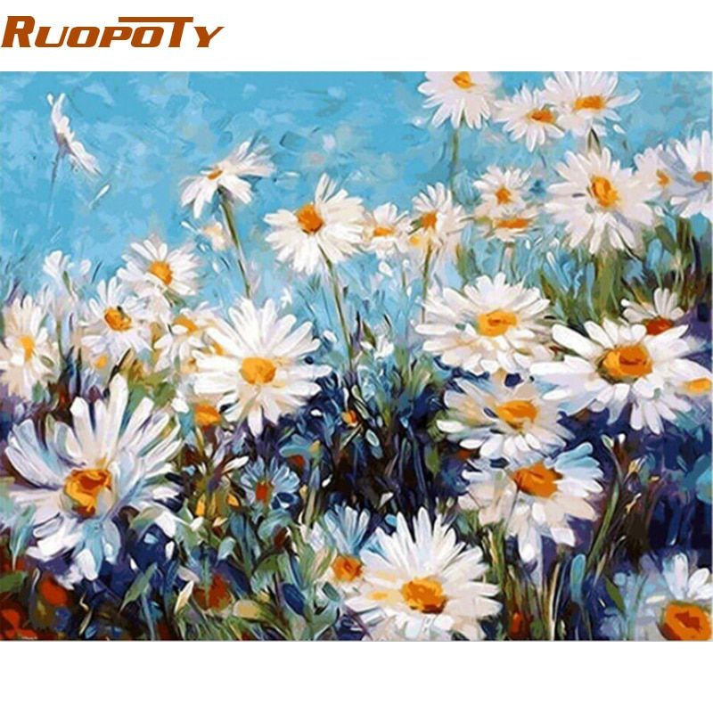 RUOPOTY diy frame White Flower DIY Painting By Numbers Modern Home Wall Art Picture Canvas Painting Unique Gift For Living Room