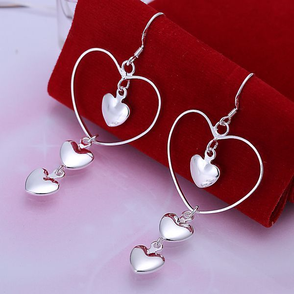 silver plated earrings fashion jewelry earrings beautiful earrings high quality Triple Heart Earrings po mh