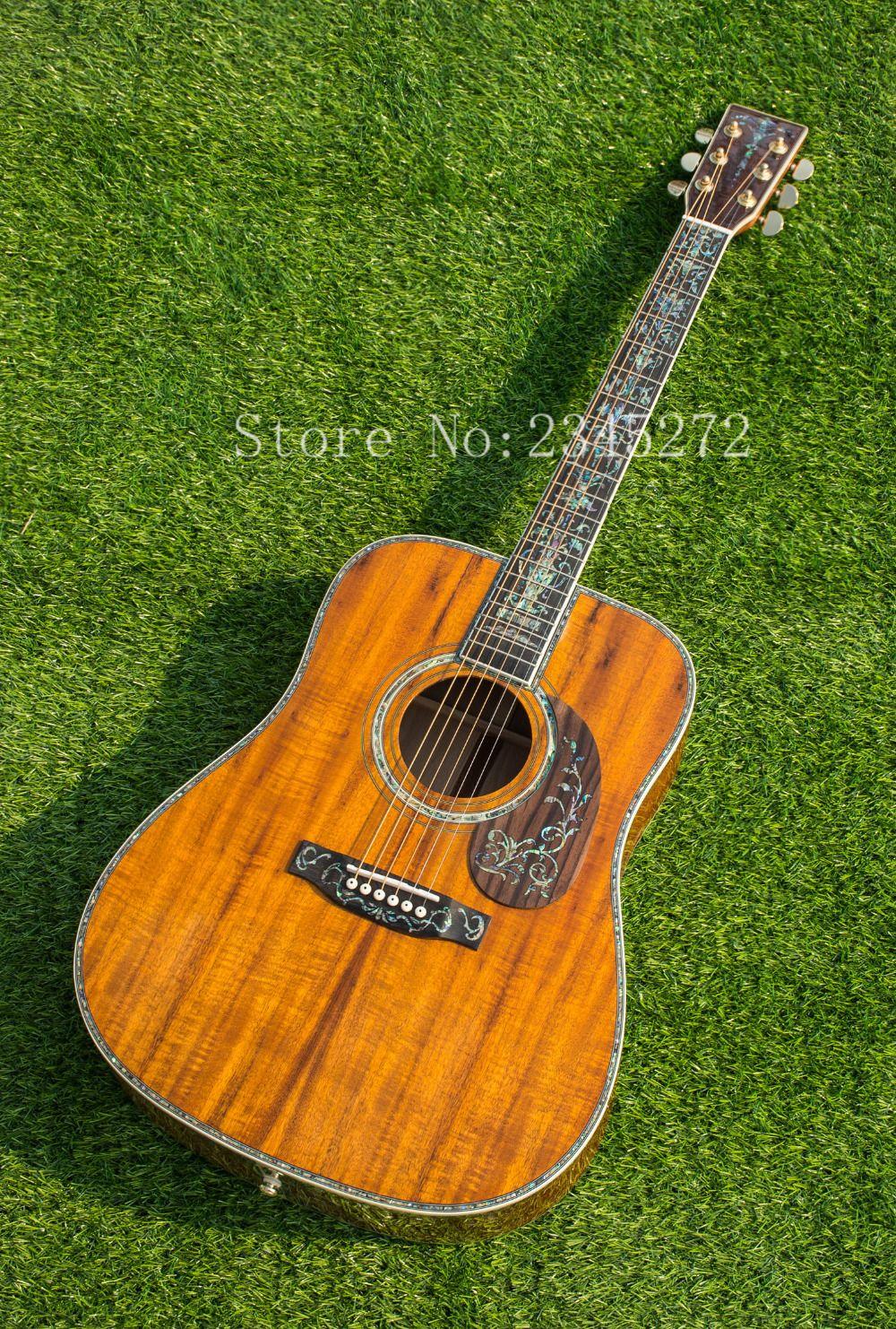 Chinese factory + koa wood manual acoustic guitar, real abalone mosaic and binding, free shipping