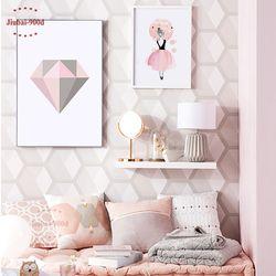 Rose Diamant Toile Art Print Affiche de Peinture, aquarelle Filles Mur Photos Pour La Décoration, cadre pas comprennent YE110