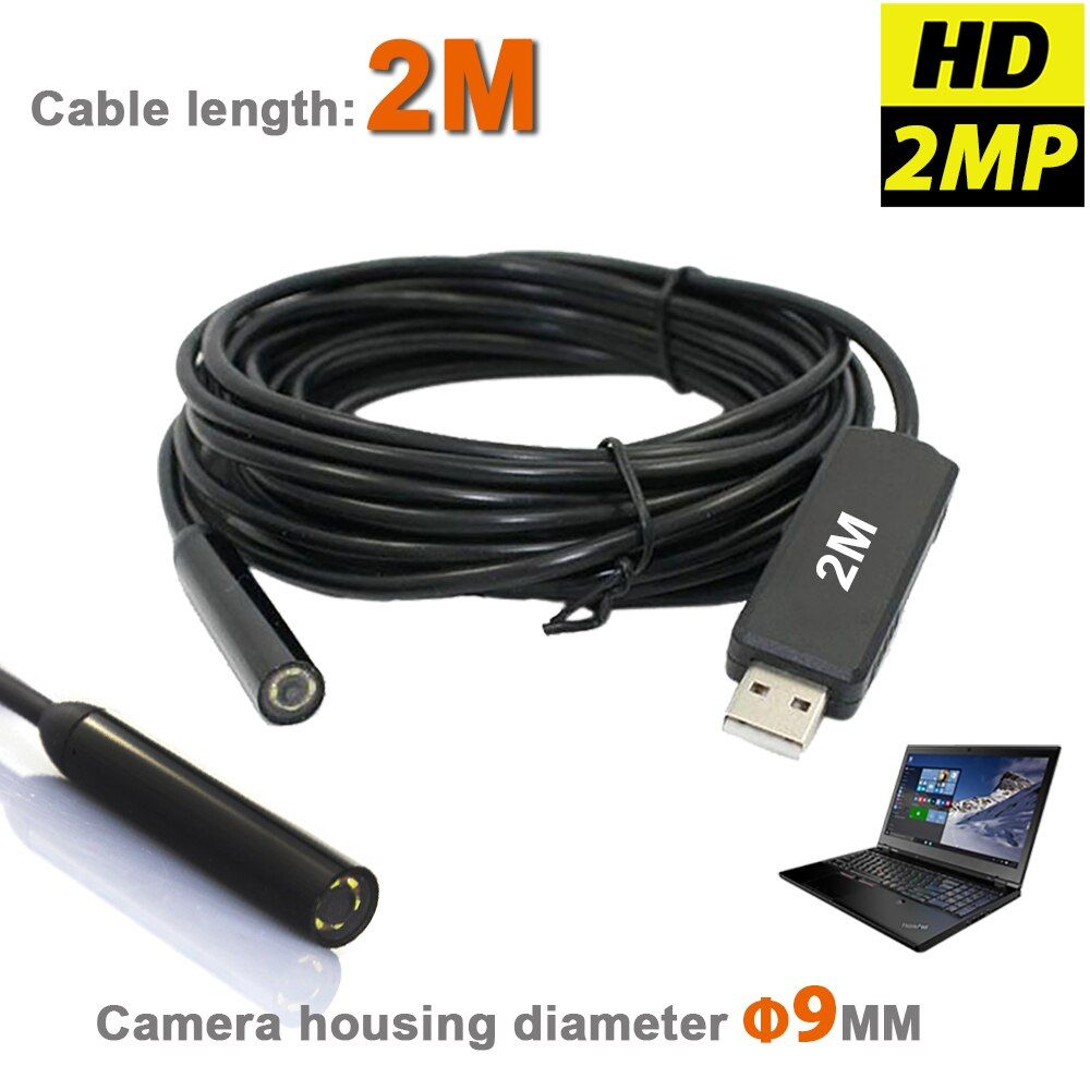 Hohe Auflösung Wasserdichte USB Endscope MINI Kamera 2MP 9mm Endoskop Schlange Inspektion Rohr Video Kamera Mit 2 Mt kabel