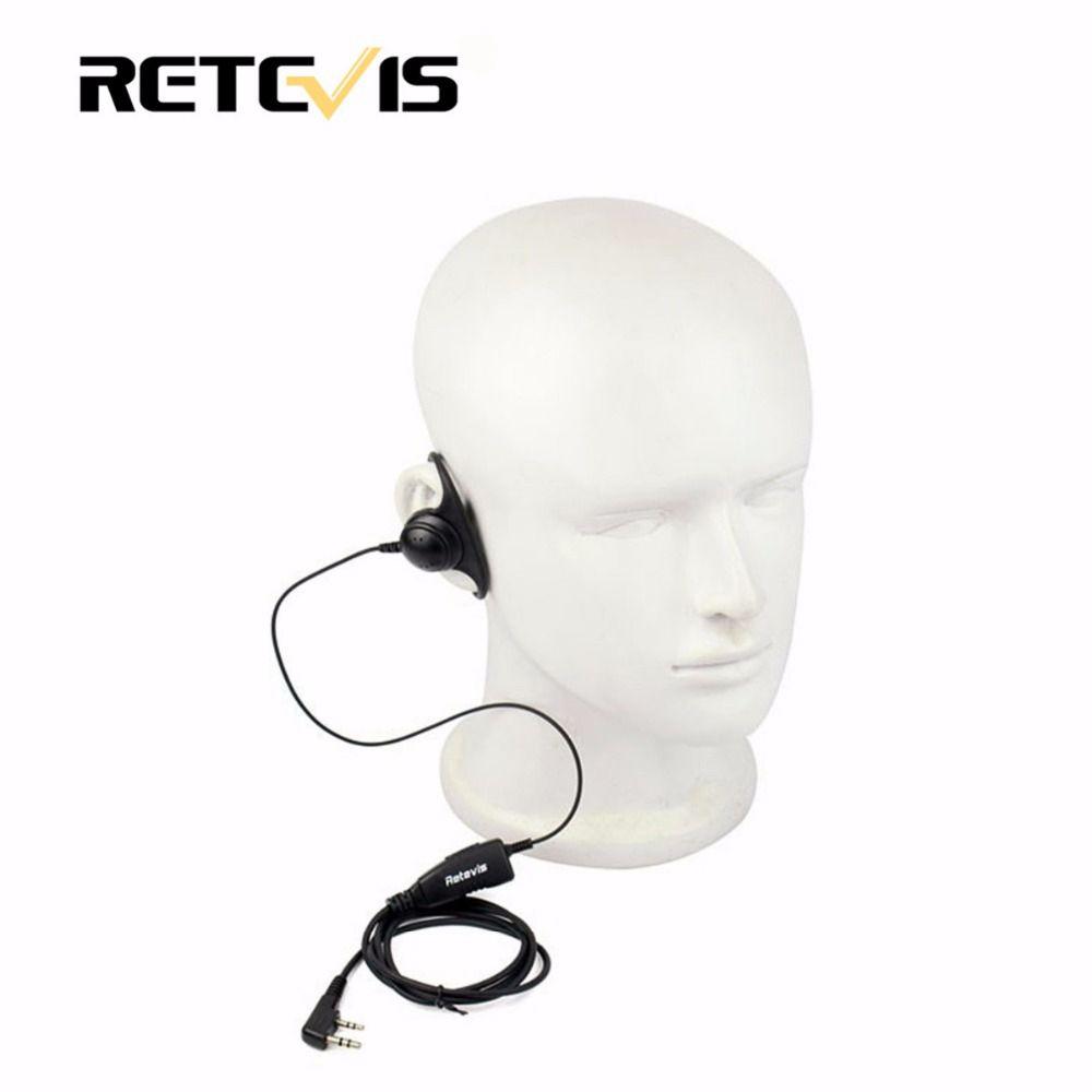 Walkie Talkie Accessories D Shape 2Pin Soft Ear Hook Headset PTT Mic For Kenwood Retevis H777 RT5 For Baofeng 888s UV5R C9031A