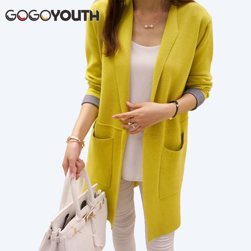 Gogoyouth Long Cardigan Female 2018 Spring Autumn Long Sleeve Knitted Women Sweater Cardigan Women Winter Tops jumper Long Coat