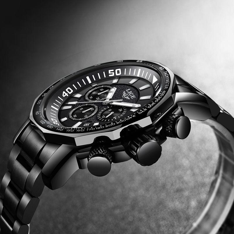 LIGE Mens Watches Top Brand Luxury Men Waterproof Stainless Steel Dial Quartz Watch Men Military Sports Watch Relogio Masculino