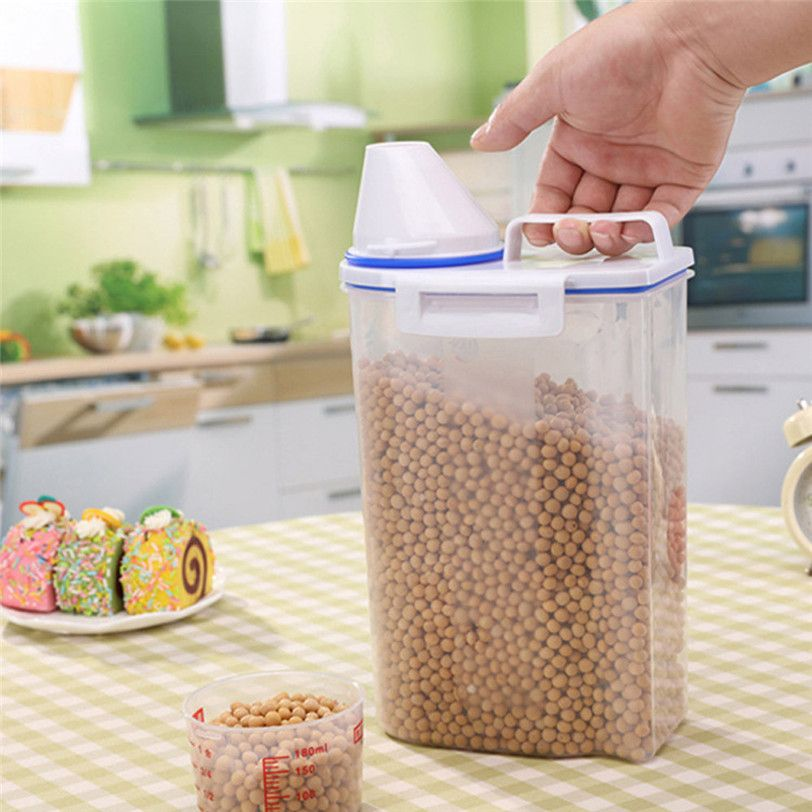 2L Plastic Cereal Dispenser Storage Box Kitchen Food Grain Rice Container Kitchen Storage Drop Shipping 529#