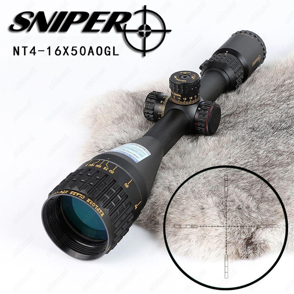 SNIPER NT 4-16X50 AOGL Jagd Zielfernrohre Taktische Optische Anblick Volle Größe Glas Geätzt Absehen RGB Beleuchtet Zielfernrohr