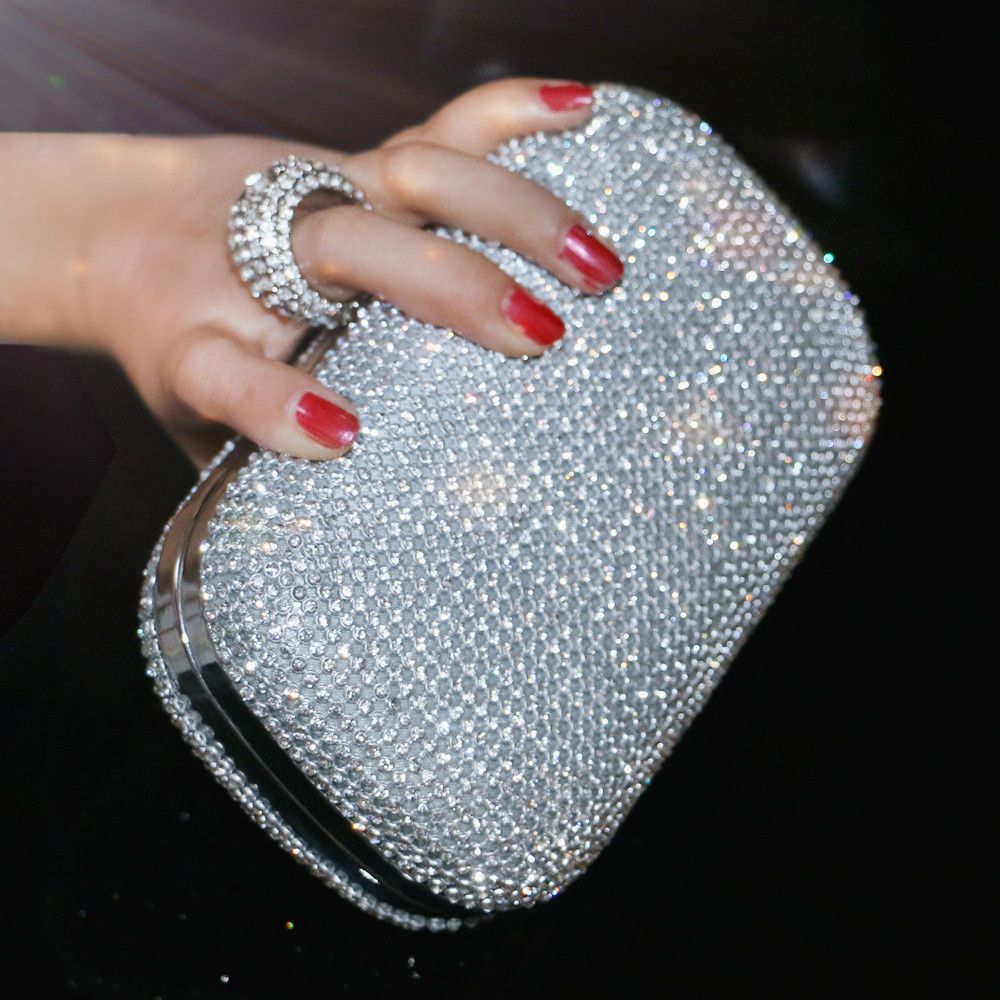 SEKUSA Evening Clutch Bags Diamond-Studded Evening Bag With Chain Shoulder Bag Women's Handbags Wallets Evening Bag For Wedding