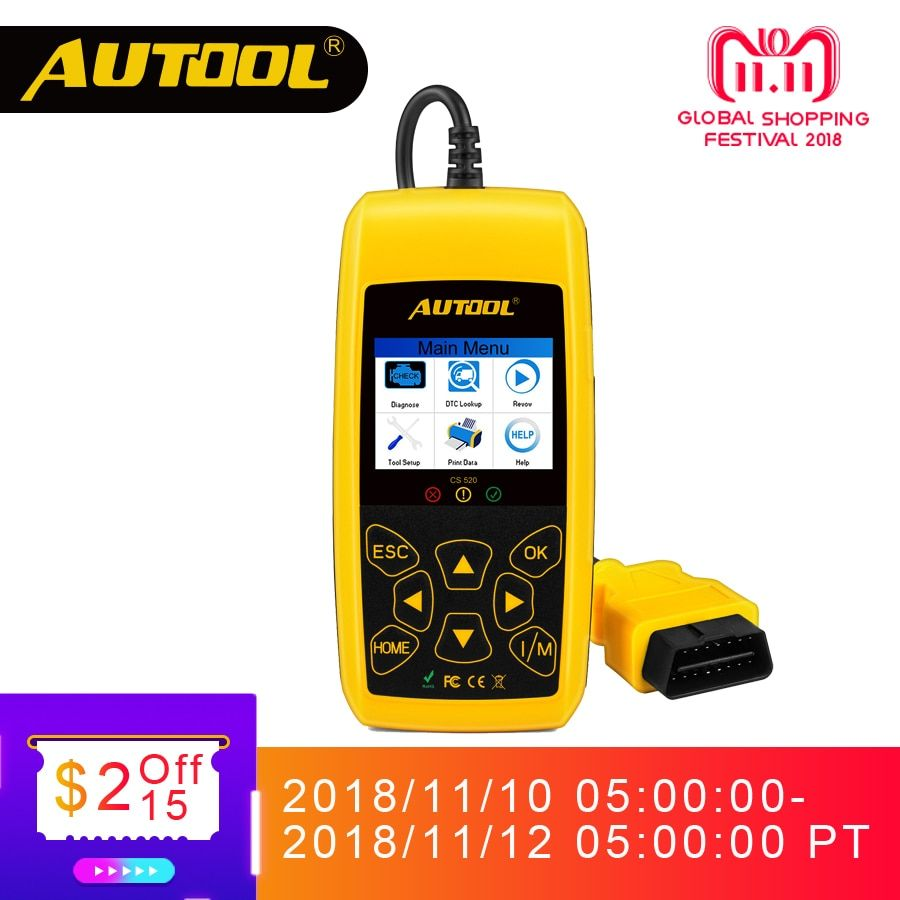 AUTOOL CS520 OBD2 Scanner Automotive Car OBD 2 Code Reader CAN BUS Auto Scan Digital Diagnostic Tool LED Dispaly Key DIY Use