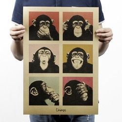 Gorilla Bar Counter Adornment Vintage Kraft Paper Poster Map Home Decoration Garage Wall Decor Art  Classic Retro Prints Post It
