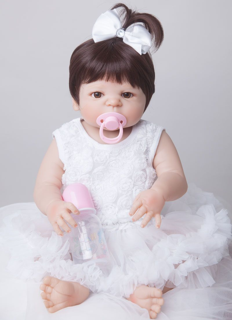 55cm New <font><b>Full</b></font> Body Silicone Reborn Baby Doll Toys Newborn Girl Baby Doll Christmas Gift Birthday Gift Bathe Toy Girls Brinquedos