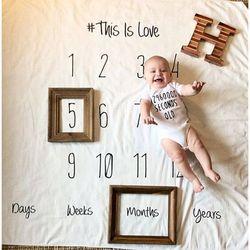 Bayi Bayi Milestone Selimut Foto Fotografi Prop Selimut Latar Belakang Kain Kalender Bebe Anak Gadis Foto Aksesoris 100x100 cm