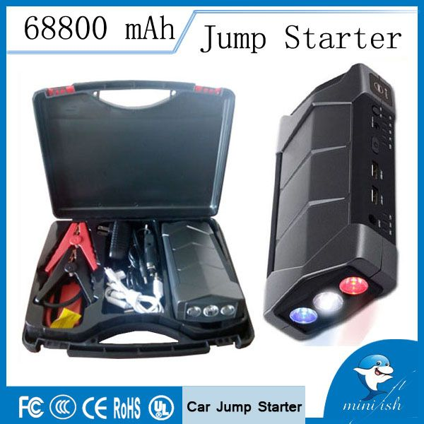 Long Life Time Compact Mini Emergency Car Battery Jump Starter 68800mAh Charger Booster with SOS flashlight