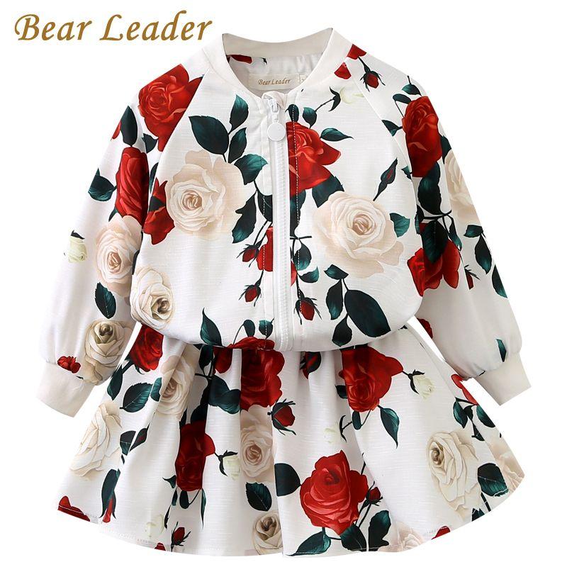 Bear Leader Girls Clothing Sets 2017 Fashion Girls Clothes Long Sleeve Floral Coats+Rose Floral Skirts 2Pcs Kids Clothing Sets