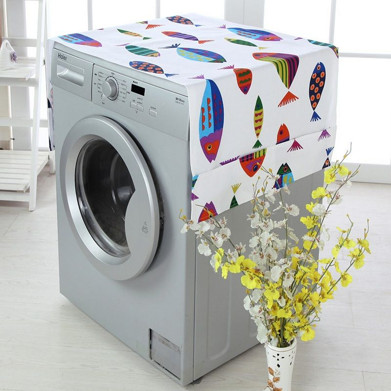 Cartoon Patchwork Drum Washing Machine Cover Waterproof Sunscreen Dustproof Washing Machine Protective Case Pocket Top Front Lid