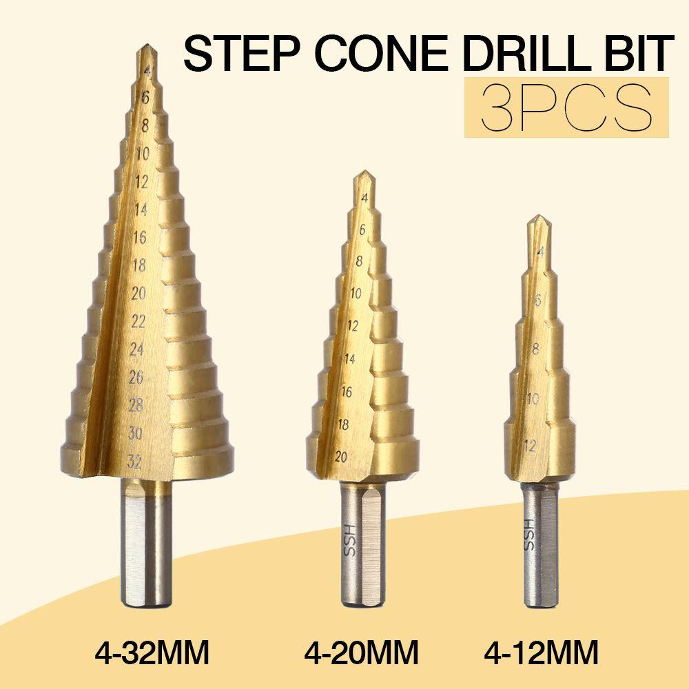 3 Pcs/lot professionnel HSS acier grand pas cône tige hexagonale enduit métal foret coupe outil Set trou Cutter 4-12/20/32mm en gros
