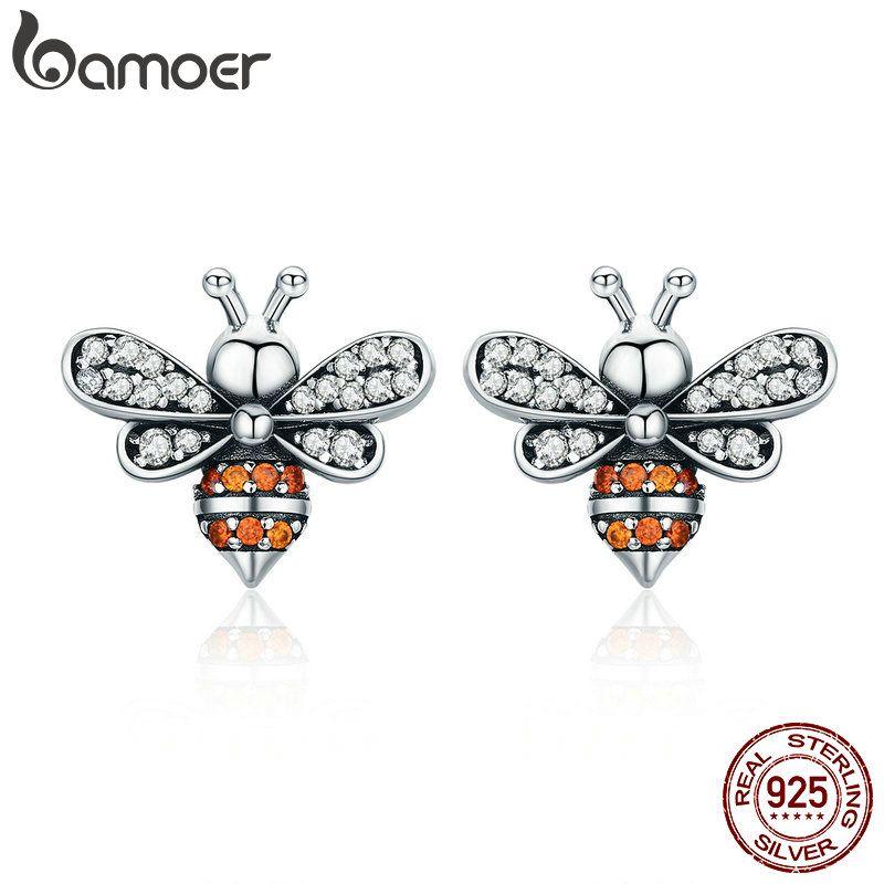 BAMOER Hohe Qualität 100% 925 Sterling Silber Bee Geschichte Klar CZ Exquisite Stud Ohrringe für Frauen Mode Silber Schmuck SCE344
