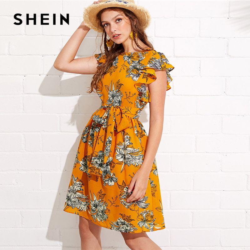 SHEIN Flutter Sleeve Self Belted Floral Dress 2018 Summer Butterfly Sleeve Vacation Clothing Women Beach Ruffle Dress