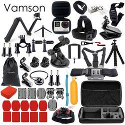 Vamson for Gopro Accessories Set for go pro hero 6 5 4 3 kit 3 way selfie stick for Eken h8r / for xiaomi for yi EVA case VS77