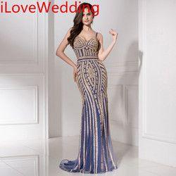 Formale Abendkleider 2019 Luxus Kristall Perlen Ärmellose Sweep Zug Lange Party Kleid Abendkleider Elegante Trompete Kleid