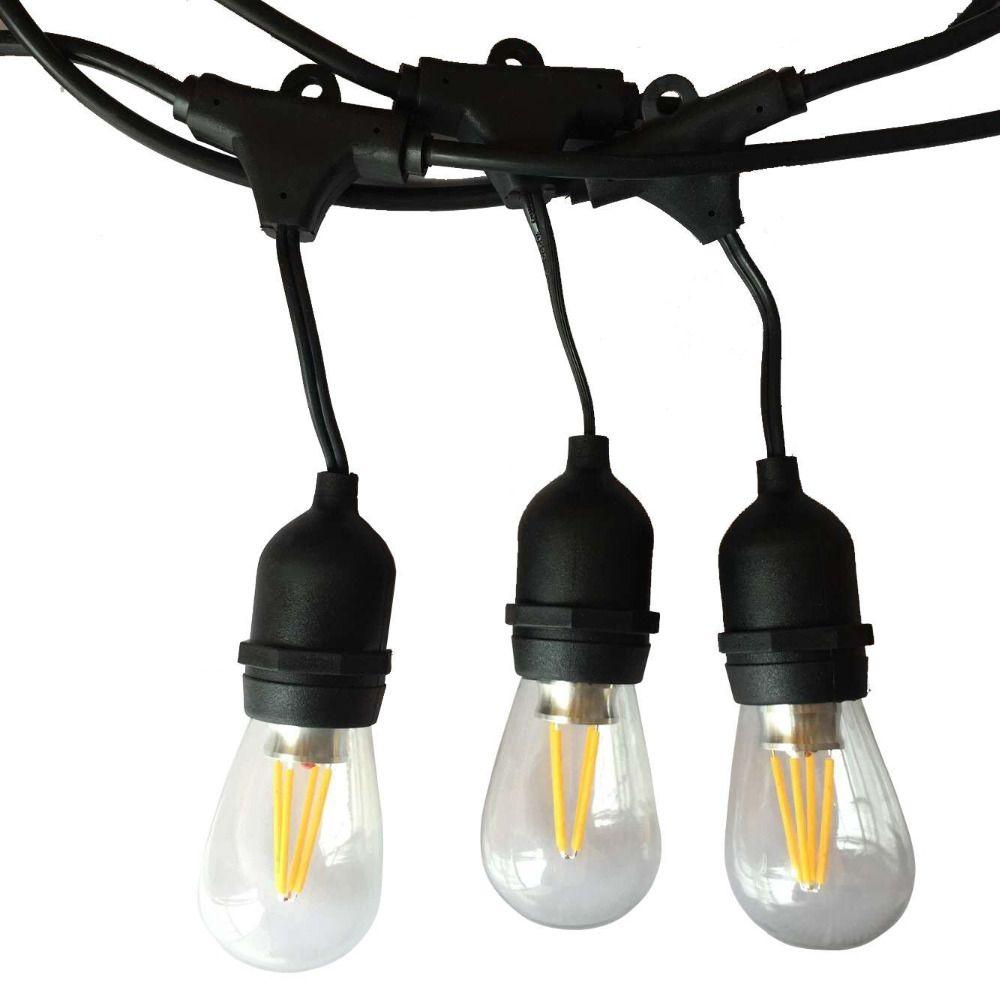 Câble noir extérieur de mesure de la lumière 10 M de ficelle de LED d'ip65 avec la décoration parfaite d'ampoules de 10 4 W Edison pour la partie de jardin de Patio
