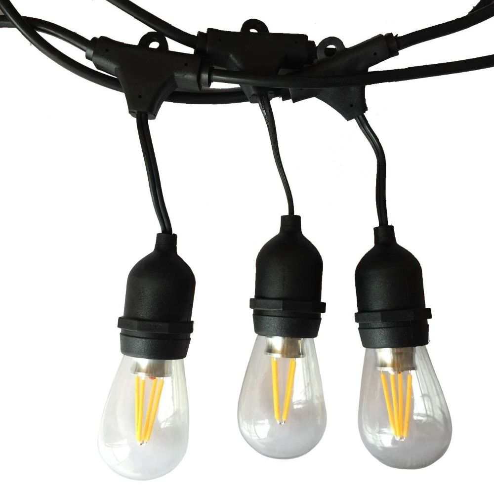 Tanbaby Outdoor Commercial String Light 10M Gauge Black Cable with 10 4W Edison Bulbs Perfect decoration for Patio Garden Party
