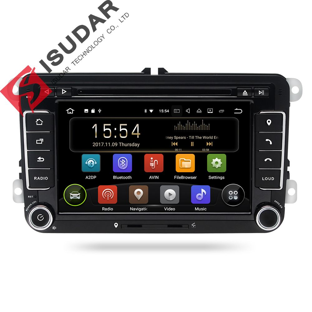 Isudar Car Multimedia player Android 7.1 GPS 2 Din For VW/Golf/Tiguan/Skoda/Fabia/Rapid/Seat/Leon/Skoda canbus dvd automotivo fm