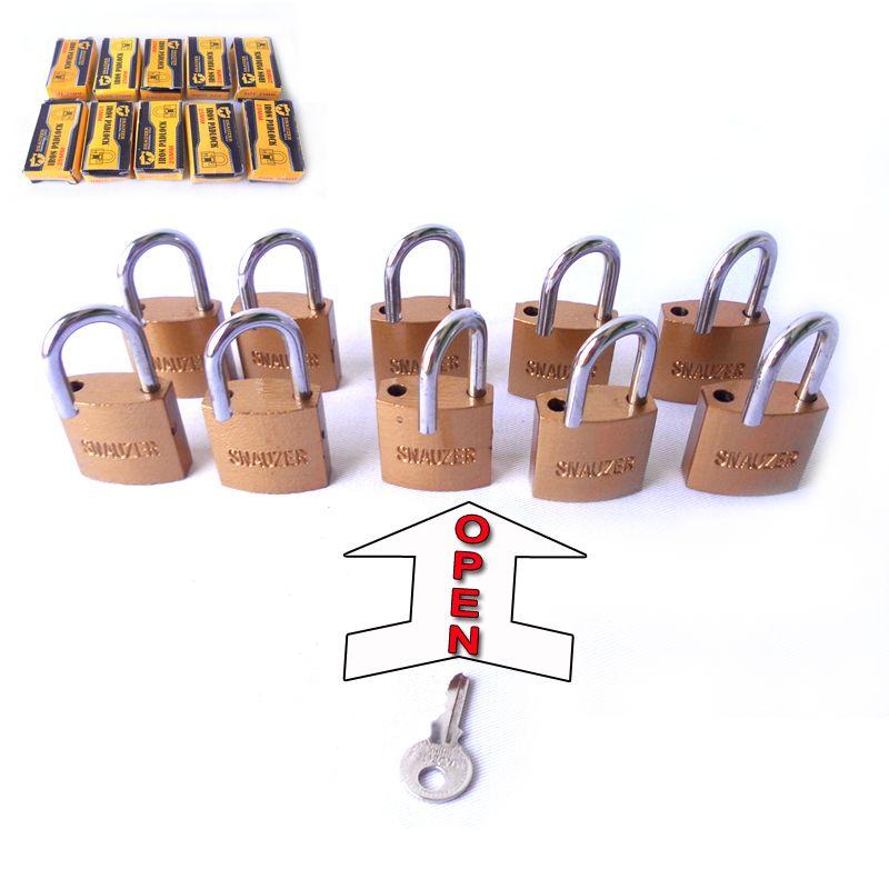 free shipping 10PC 25mm padlocks open by same key