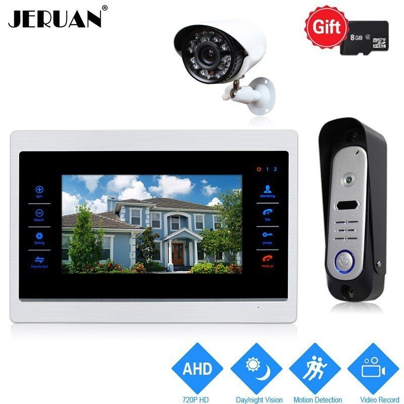 JERUAN 10 inch 720P Video Door Phone Doorbell Intercom System Record Monitor +1.0MP COMS Camera With Motion Detection+AHD Camera